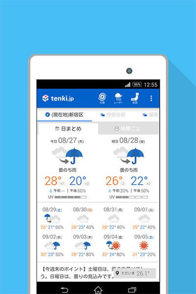 Android版アプリ「tenki.jp」をリリース。