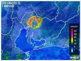 2010年2月1日の気象レーダー画像