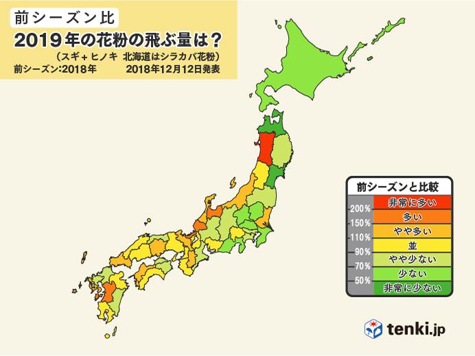 2019年の花粉飛散量(前シーズン比)