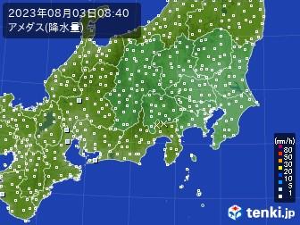 関東・甲信地方のアメダス実況(降水量)