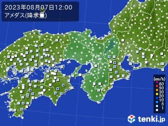 近畿地方のアメダス実況(降水量)