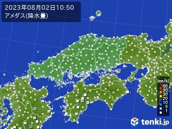中国地方のアメダス実況(降水量)