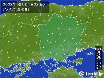 岡山県のアメダス実況(降水量)