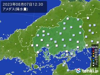 広島県のアメダス実況(降水量)