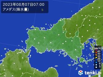 山口県のアメダス実況(降水量)