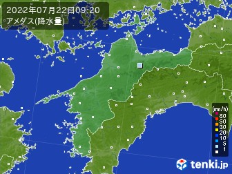 愛媛県のアメダス実況(降水量)