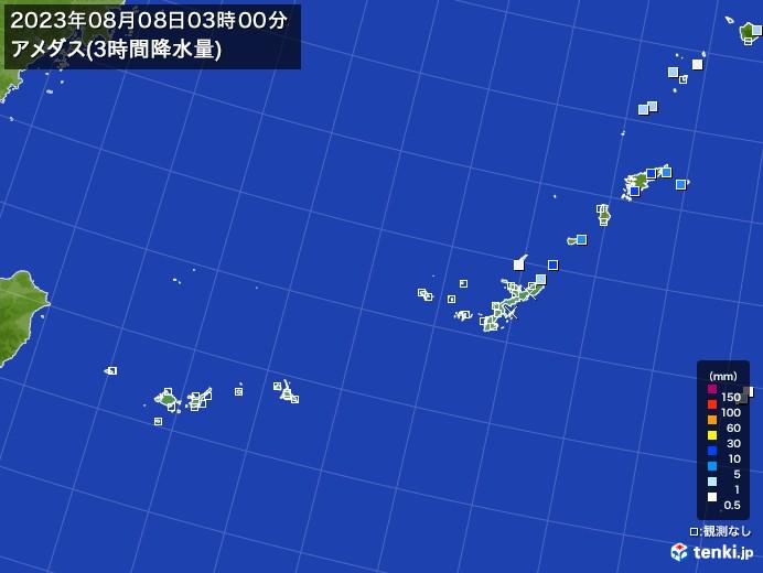 沖縄地方のアメダス合計降水量(3時間)