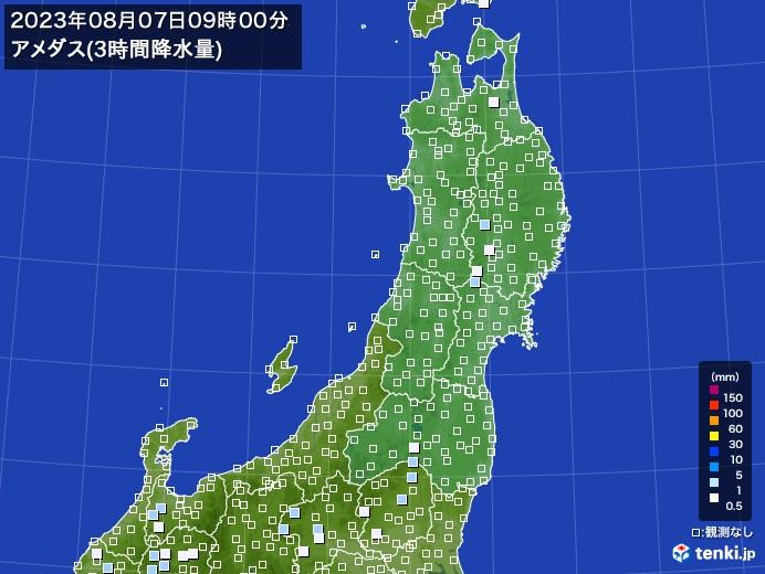 東北地方のアメダス合計降水量(3時間)