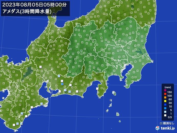 関東・甲信地方のアメダス合計降水量(3時間)