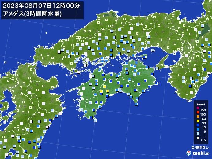 四国地方のアメダス合計降水量(3時間)