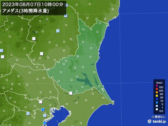茨城県のアメダス合計降水量(3時間)