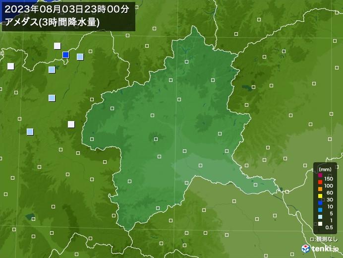 群馬県のアメダス合計降水量(3時間)