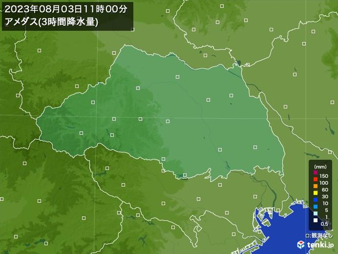 埼玉県のアメダス合計降水量(3時間)