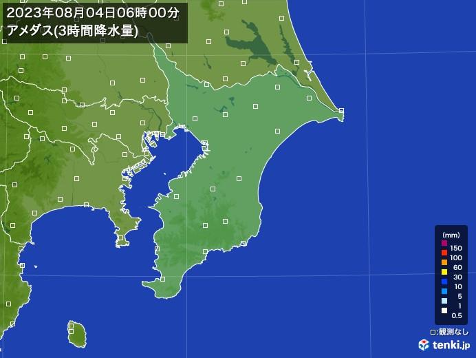 千葉県のアメダス合計降水量(3時間)