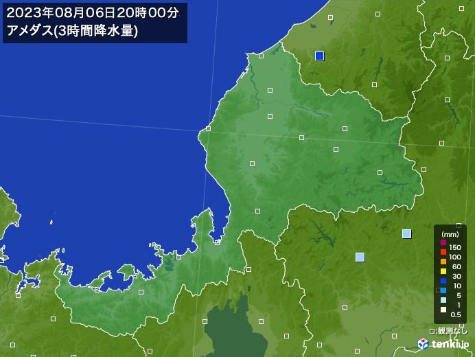福井県のアメダス合計降水量(3時間)