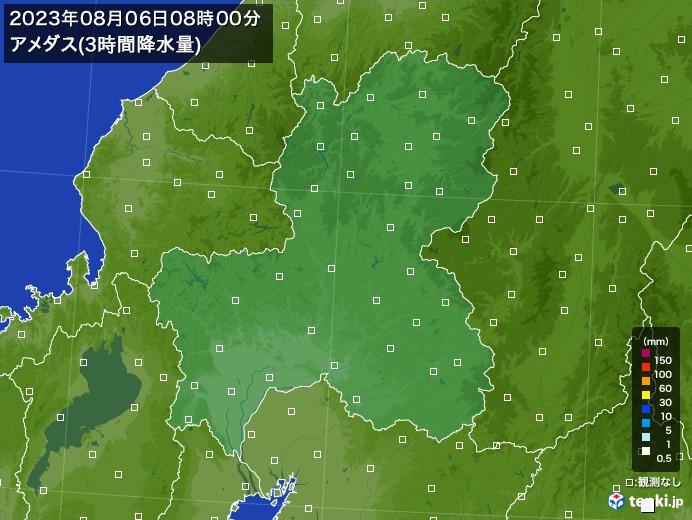 岐阜県のアメダス合計降水量(3時間)