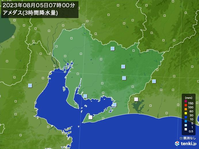 愛知県のアメダス合計降水量(3時間)
