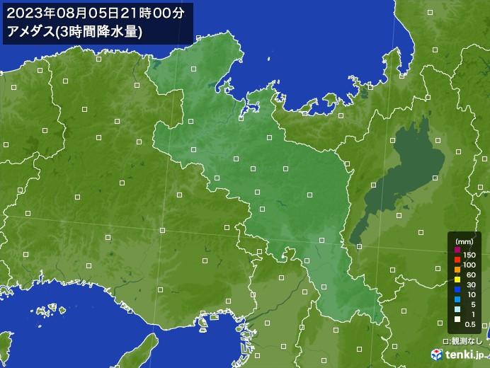京都府のアメダス合計降水量(3時間)