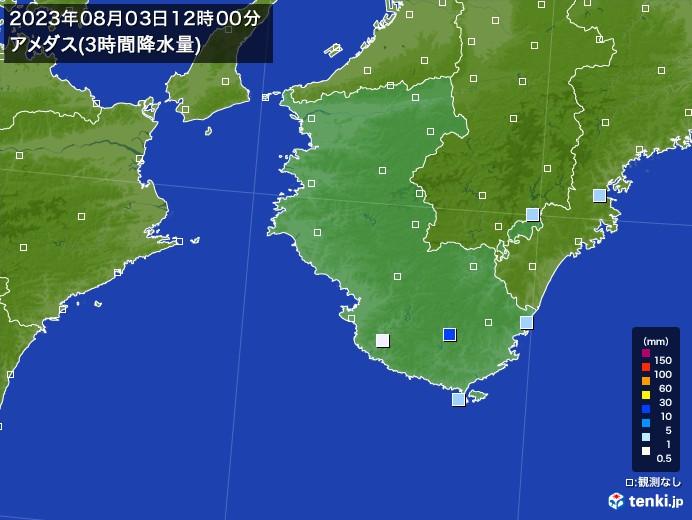 和歌山県のアメダス合計降水量(3時間)