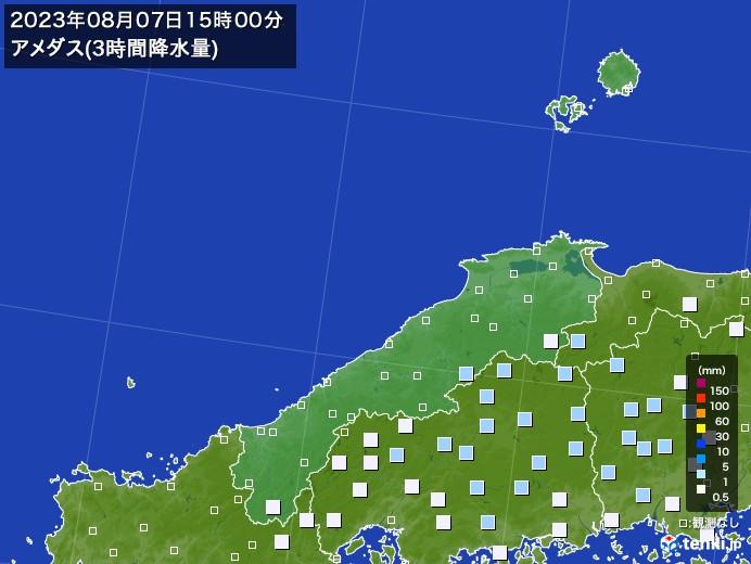 島根県のアメダス合計降水量(3時間)