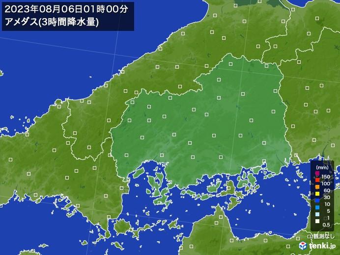 広島県のアメダス合計降水量(3時間)