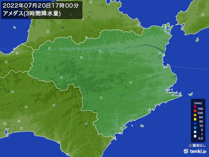 徳島県のアメダス合計降水量(3時間)