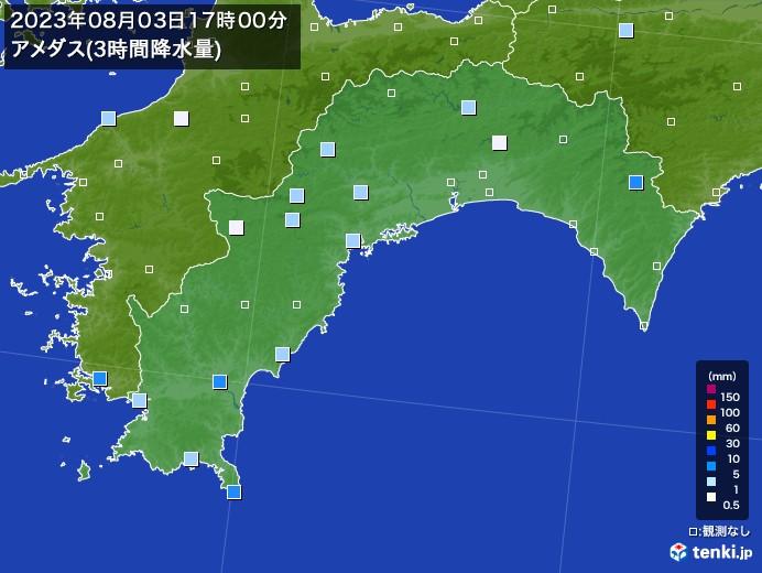 高知県のアメダス合計降水量(3時間)