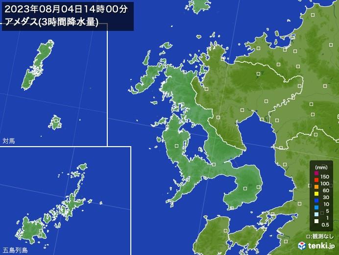 長崎県のアメダス合計降水量(3時間)