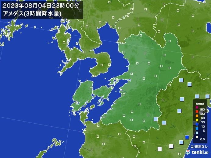 熊本県のアメダス合計降水量(3時間)