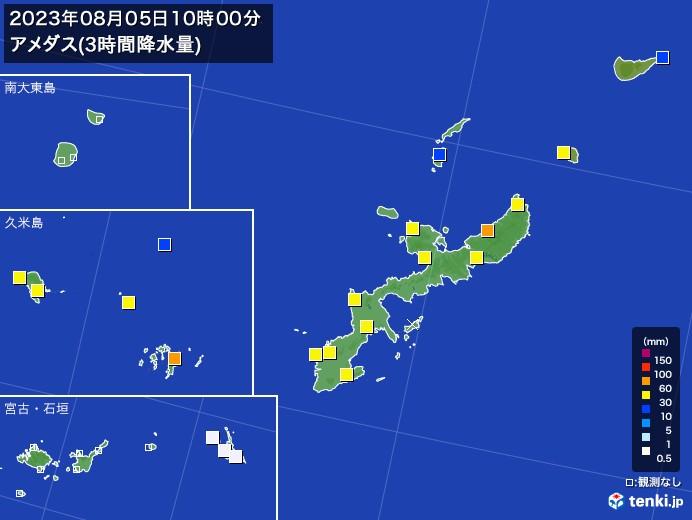 沖縄県のアメダス合計降水量(3時間)