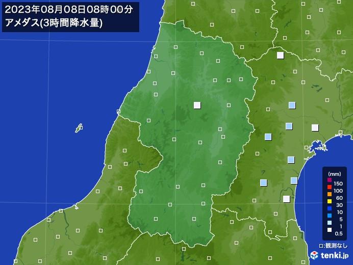 山形県のアメダス合計降水量(3時間)