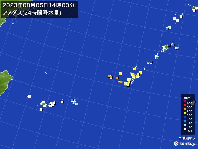 沖縄地方のアメダス合計降水量(24時間)