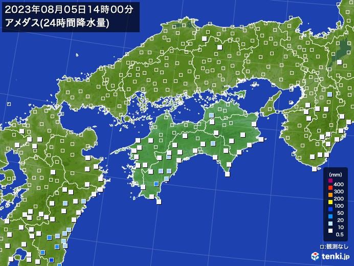 四国地方のアメダス合計降水量(24時間)