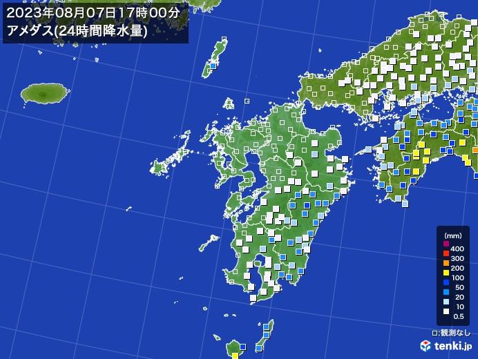 九州地方のアメダス合計降水量(24時間)