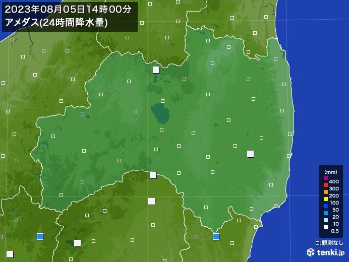 福島県のアメダス合計降水量(24時間)