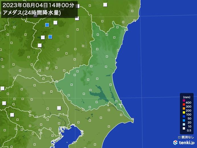 茨城県のアメダス合計降水量(24時間)