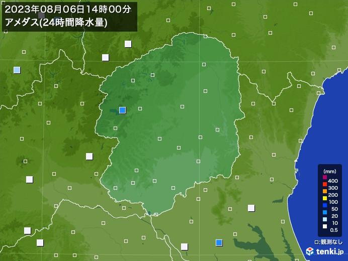 栃木県のアメダス合計降水量(24時間)