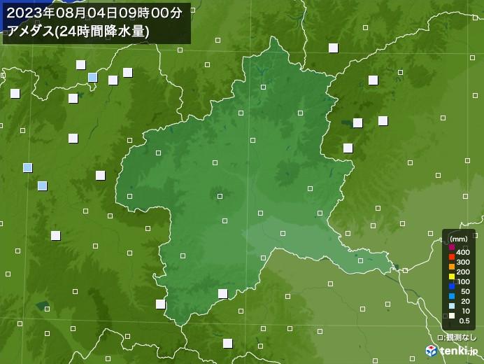 群馬県のアメダス合計降水量(24時間)