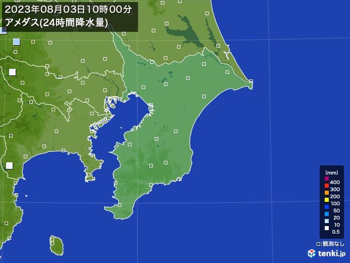 千葉県のアメダス合計降水量(24時間)