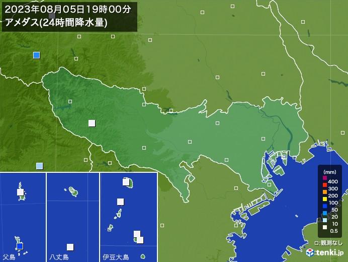東京都のアメダス合計降水量(24時間)