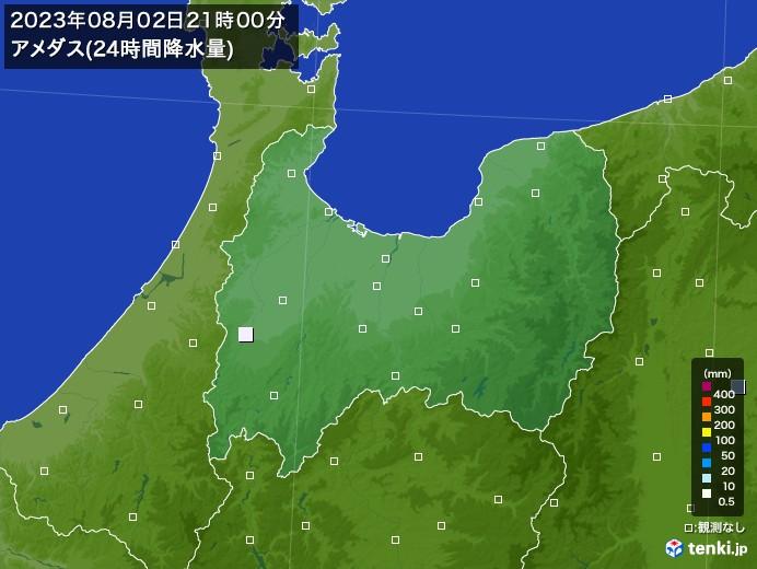 富山県のアメダス合計降水量(24時間)