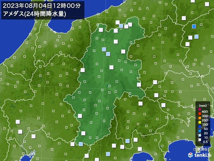 長野県のアメダス合計降水量(24時間)