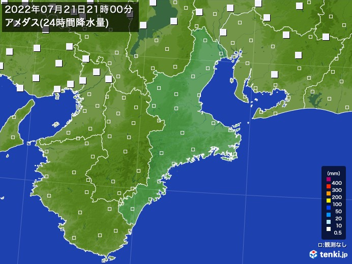 三重県のアメダス合計降水量(24時間)