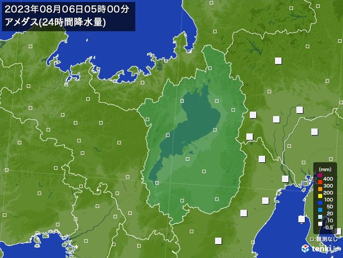 滋賀県のアメダス合計降水量(24時間)