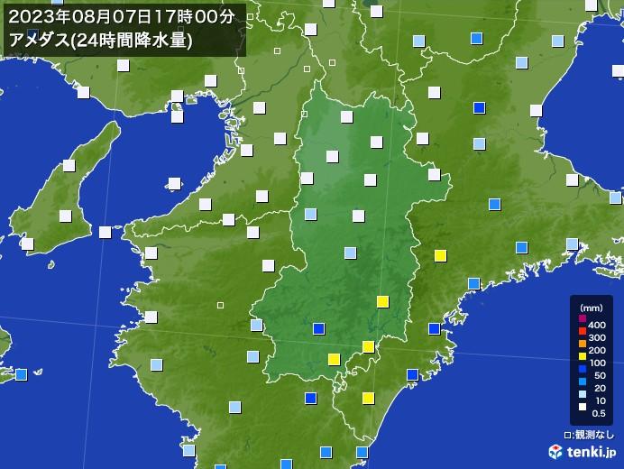 奈良県のアメダス合計降水量(前24時間) - 日本気象協会 tenki.jp