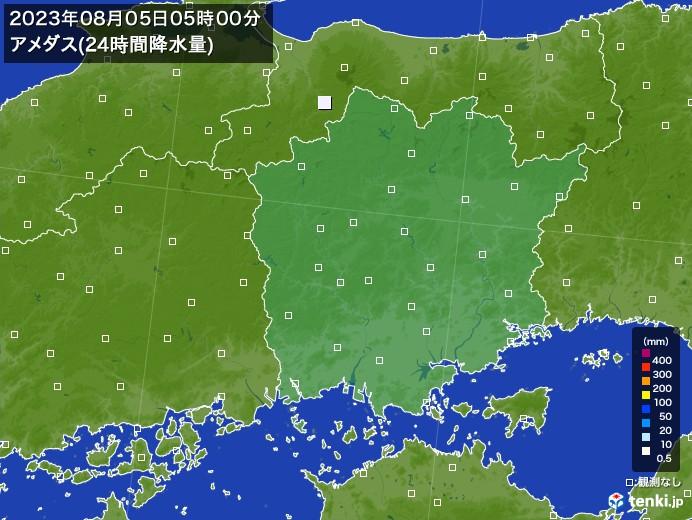 岡山県のアメダス合計降水量(24時間)