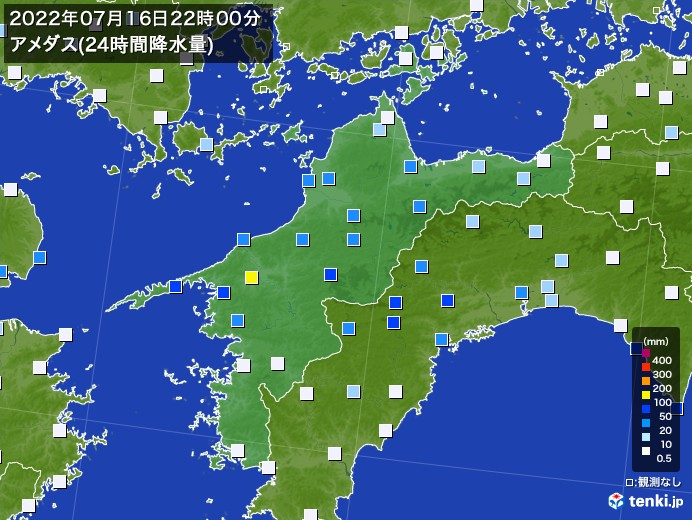 愛媛県のアメダス合計降水量(24時間)