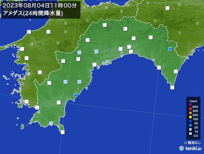 高知県のアメダス合計降水量(24時間)