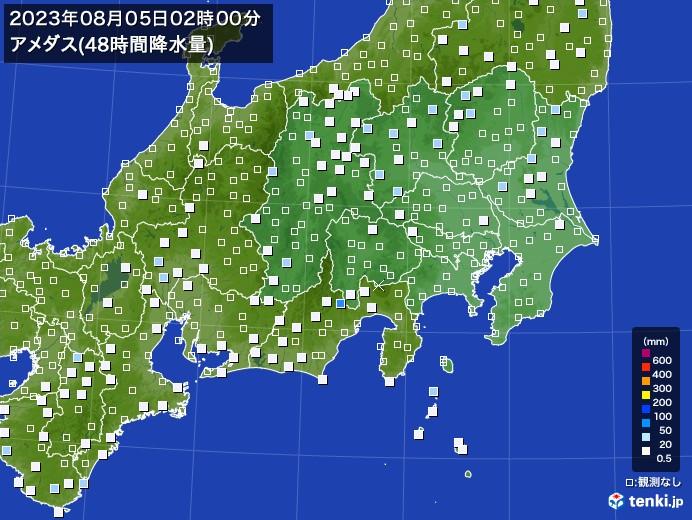 関東・甲信地方のアメダス合計降水量(48時間)
