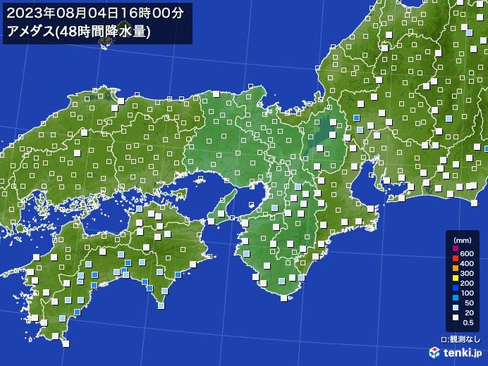 近畿地方のアメダス合計降水量(48時間)